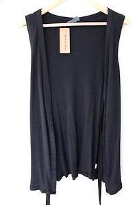 NWT-MIchael-Stars-0272-Black-Shine-Belted-Vest-Open-Cardigan-Layer-Top-OSFM-74