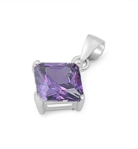 Silver Pendant with Cubic Zirconia Amethyst CZ Pendant Height 8 mm  Sterling