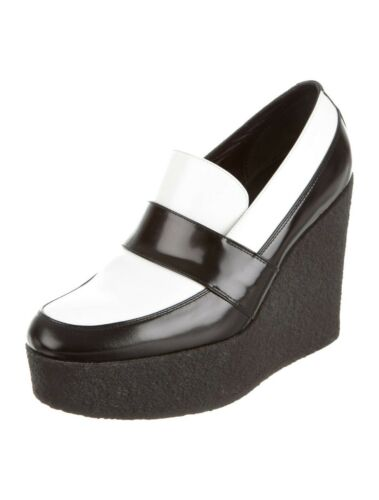 Celine $1090 Black White Loafer Wedge Platforms Sz