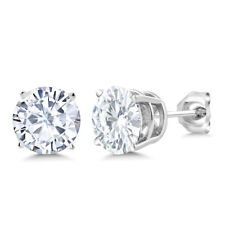 925 Sterling Silver Earrings Timeless Brilliant Created Moissanite 2.00ct DEW