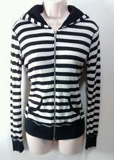 Wet Seal Jr's Woman's Medium RETRO Black & White Stripes Zip-Up Hoddie Jacket