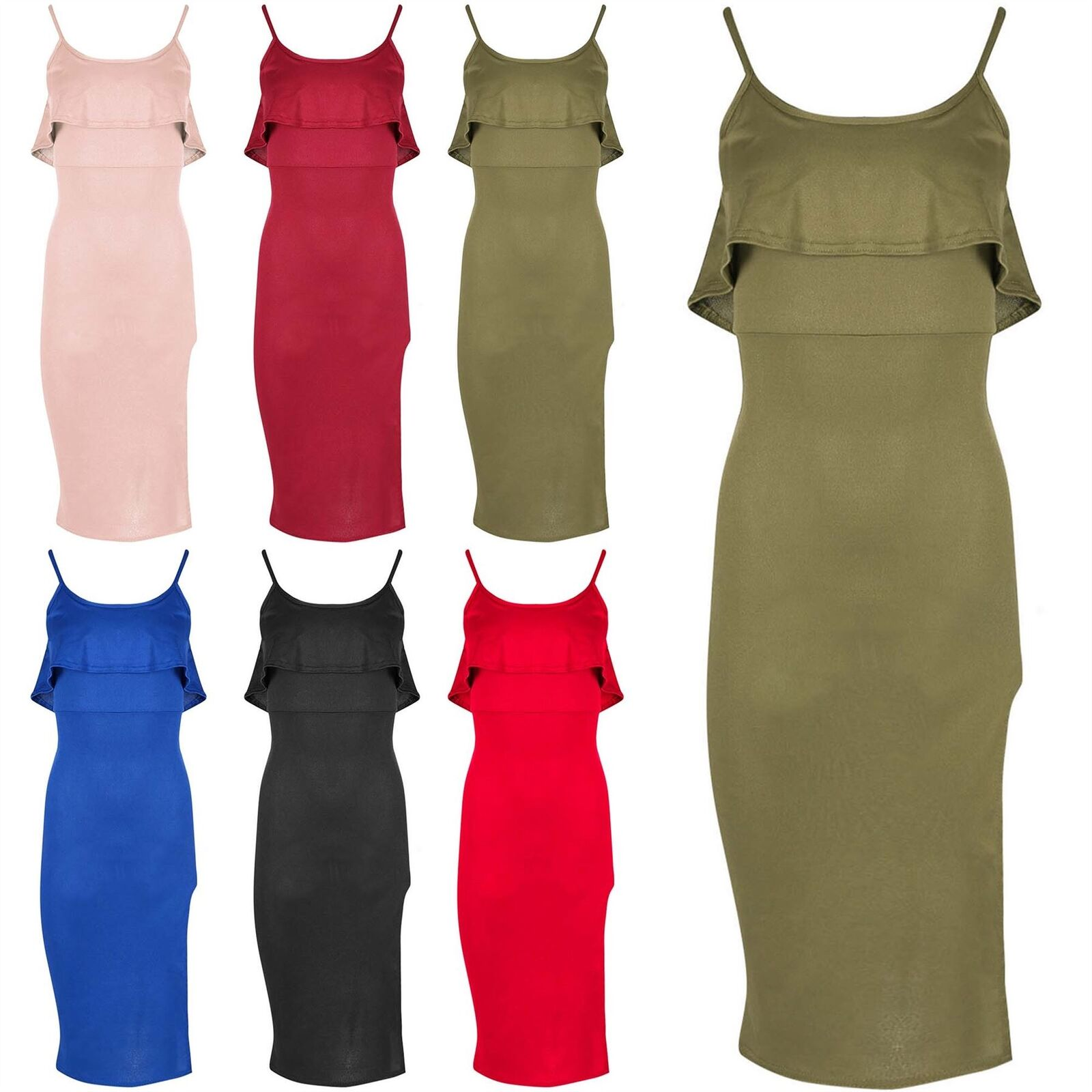 Femme Mince Cami Sangle Cami Mince Side Split Peplum Frill Bodycon Midi Bandage Dress 3def23