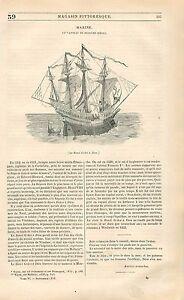 Vaisseau-caraque-nef-XVIeme-Siecle-Marine-Francaise-GRAVURE-ANTIQUE-PRINT-1838