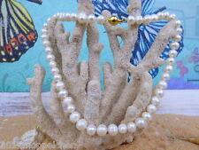 Weiße Akoya Zuchtperlen Perlenkette ( 40cm ) Perlengröße 7mm-8mm-Kugelverschluss