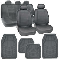 Simulated Leather Car Seat Covers Floor Mats For All Weather In Gray on sale