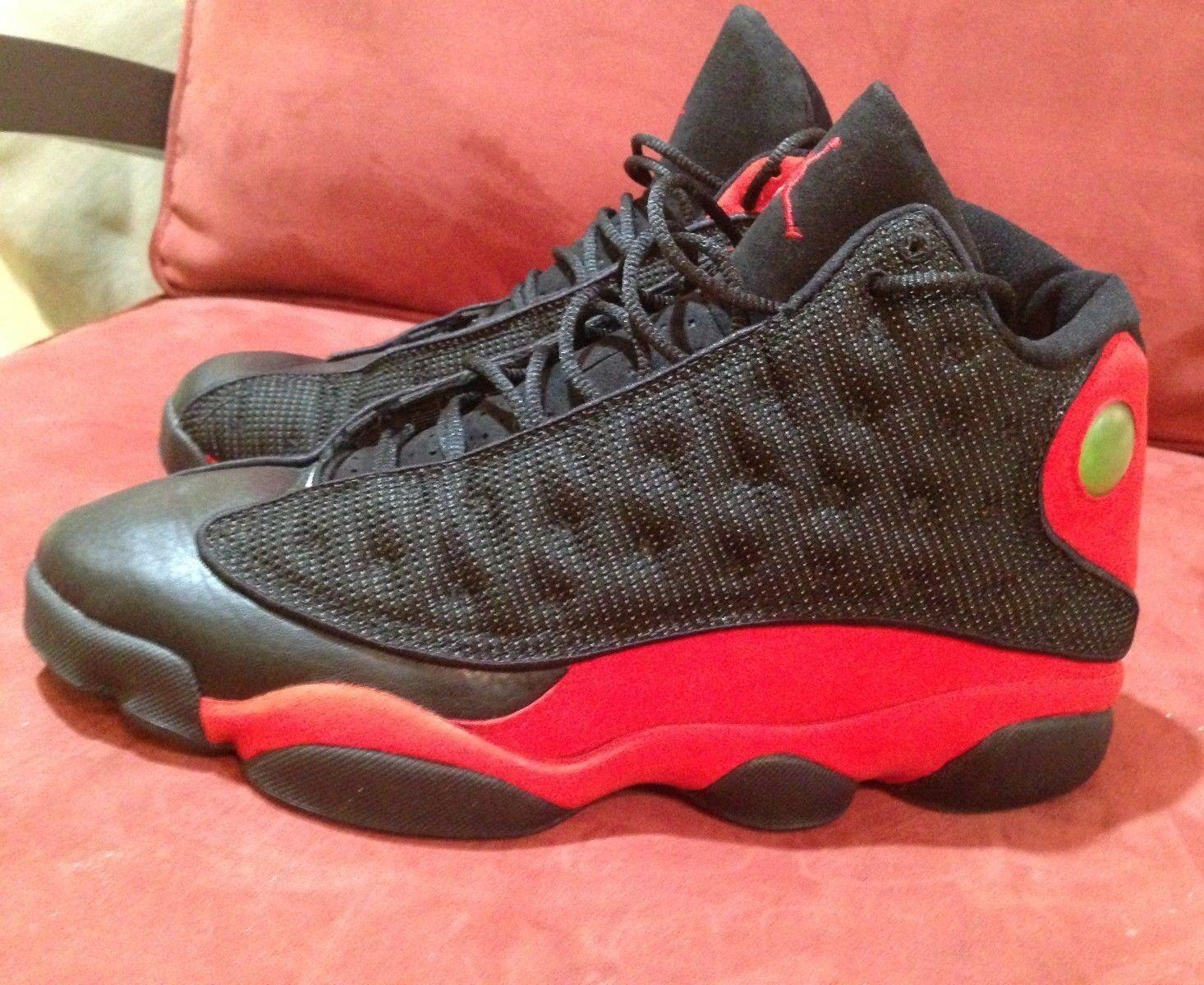 Nike air jordan 13 (xiii) og 1998, c (nero / vero rosso) taglia 10 fede!