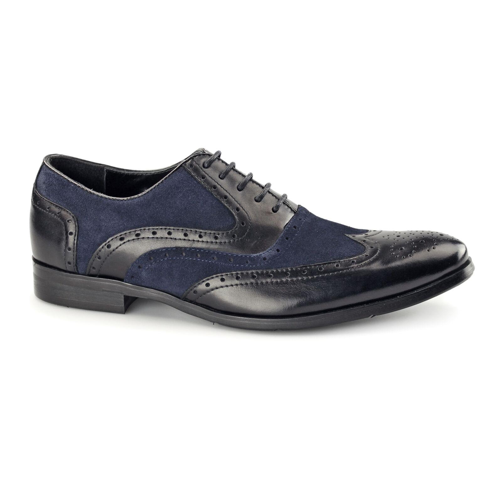 Azor MILLER para Hombre de Cuero Inteligente Formal Zapatos Oxford Brogue Acolchado Negro Azul