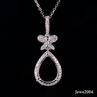 Natural Diamond Semi-Mount Wedding Pendant Pear Cut 9×12mm Solid 14K White Gold