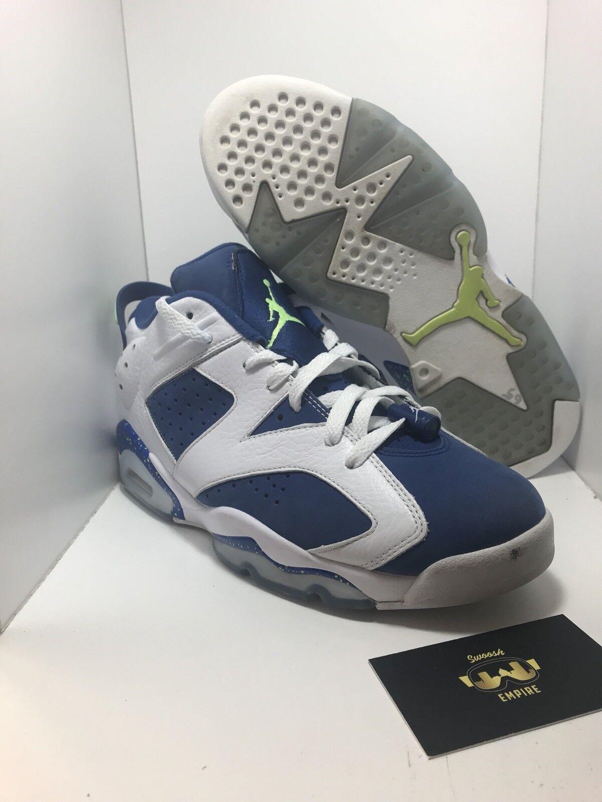 Nike Air Jordan 6 Retro Low Ghost Green Seahawks Size 9 304401-106 Great Shape