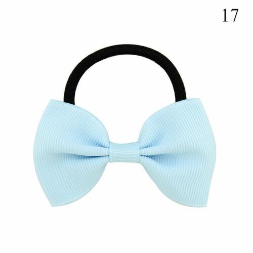 2PC Kids Baby Bowknot Scrunchies Girl Hair Ties Gum Solid Elastic Hair Ring Rope
