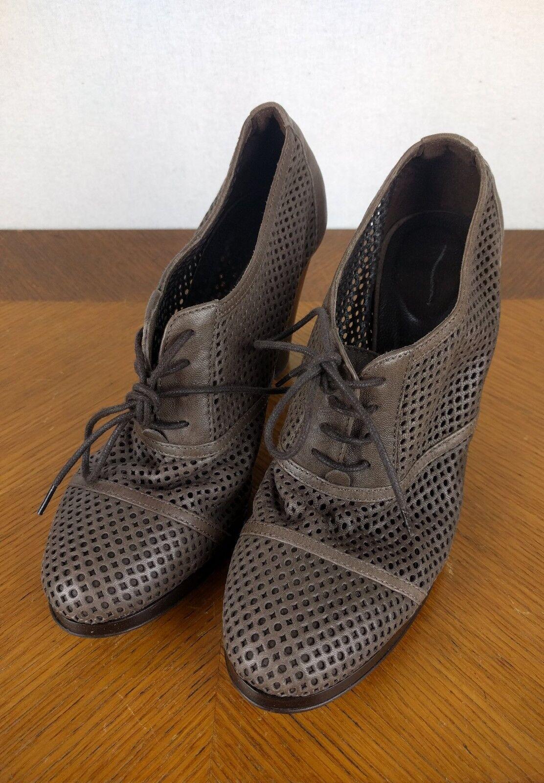 J CREW Brown Lace Up Heels Womens Sz 6.5 Designer Pumps Boots Leather  shoes