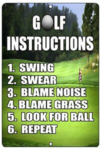 Funny Golf Instructions Metal Tin Sign Golf Wall Decor Man