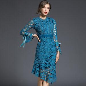 Vestiti In Pizzo Eleganti.Elegante Vestito Abito Lungo Azzurro Pizzo Maniche Scampanato Slim