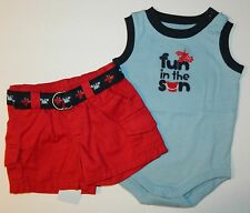 NWT GYMBOREE boys BEACH CRAWLER Red SHORTS FUN IN SUN ROMPER OUTFIT 0 3 months