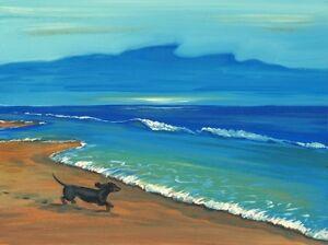 1.5x2 DOLLHOUSE MINIATURE PRINT OF PAINTING RYTA 1:12 SCALE seascape corgi ocean