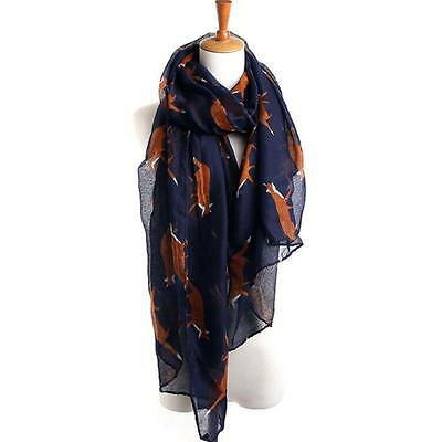 New Lady Womens Fashion Voile Long Cute Fox Print Scarf Wraps Shawl Soft Scarves