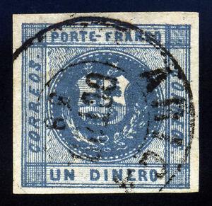 Peru. 1858. 1d. Slate Blue. SC# 7. Four Margin. XF Used