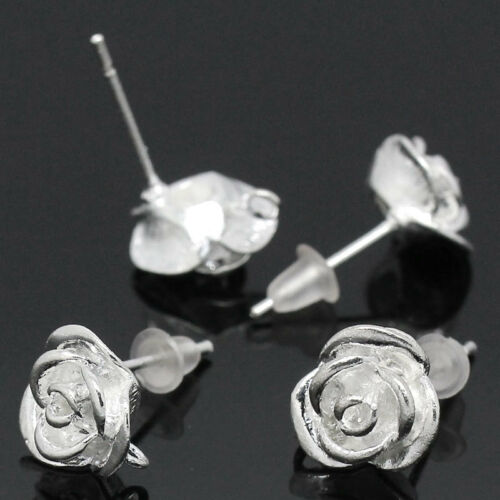 "10 PCs Copper Earring Post Flower Silver Plated 18mmx10mm 6//8/""x3//8/"""