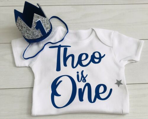 Crown Hat Blue 1 Custom Boys First 1st Birthday Outfit Cake Smash Set Vest Top