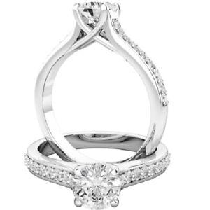 0.70 Ct Round Moissanite Wedding Ring 14K Bridal Solid White Gold ring Size 6 7