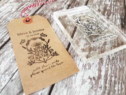 WEDDING TAGS SPREAD THE LOVE WEDDING STAMP FAVOUR PERSONALISED INITIALS /& DATE