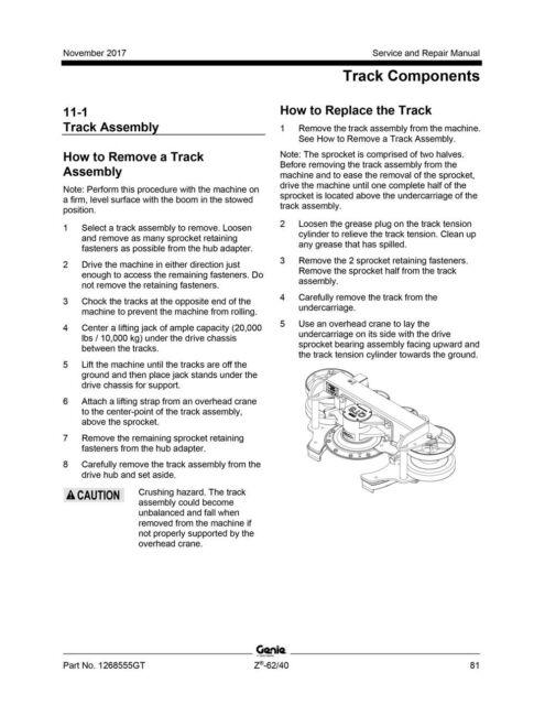 Terex Genie Z-62/40 Repair Service Workshop Manual Articulating Boom Lift