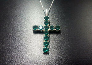 Solid-Silver-14K-White-Gold-Over-3-Ct-Round-Emerald-Cross-Pendant-Chain-Necklace