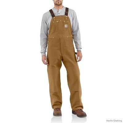 Men's R01 Carhartt Duck Bib Overall Unlined New Brown Black All Sizes