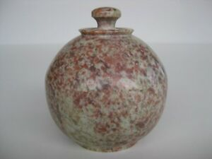 Unique-Stone-Bowl-3-034-wide-pot-beautiful-red-white-rock