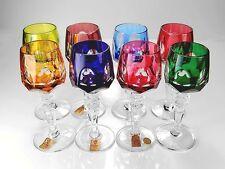 RARE SET 8 MULTI COLOR NACHTMANN BOHEMIAN GLASS ANTIKA CORDIALS W/ LABELS MIINT!