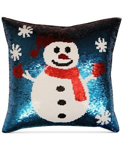 Hallmart-Collectibles-Snowman-Sequin-18-034-Square-Decorative-Pillow-T97198
