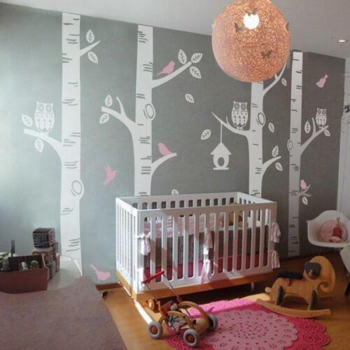 Owl Bird Birch Tree Wall Decal Vinyl Baby Nursery Playroom Mural Removable Decor