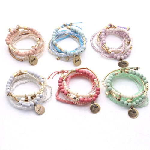 Ladies Bracelets Multilayer Crystal Beads Leave Tassel Bangles Jewelry Gifts 6A