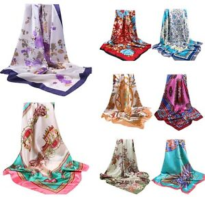 90x90cm-Fashion-Womens-Square-Satin-Silk-Scarf-Scarves-Bandanas-Head-Wraps-Shawl