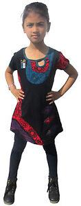 enfants-coton-manches-courtes-decollete-ete-filles-FLORAL-HIPPIE-Bohemien-robe