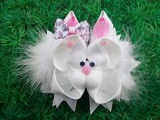 "NEW ""EASTER BUNNY"" Fur Ribbon Sculpture Hair Bow Alligator Clip Girls Rabbit"