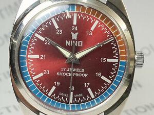 Vintage-Nino-Mens-Analog-Dial-Mechanical-Handwinding-Movement-Wrist-Watch-OG53