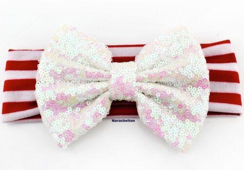 Large Sequins Bow Girls Christmas Headband Elastic Stripe Hair bow
