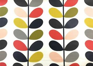 ORLA KIELY MULTI STEM CREAM GREY RED GREEN PVC OIL CLOTH SOLD BY THE METRE
