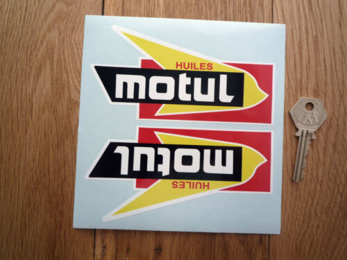 "MOTUL HUILES Shaped Car Bike STICKERS 5.5/"" Handed Pair Race Rally Endurance Oil"