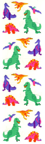 Grossman/'s Stickers Mrs Bright Colors! Micro Retired 4 Strips Dinosaurs
