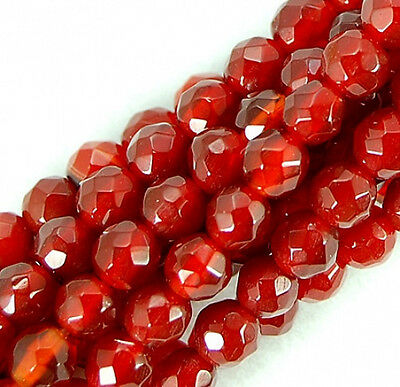 """4MM  CARNELIAN RED AGATE GEMSTONE RED FACETED ROUND LOOSE BEADS 15/"""""""