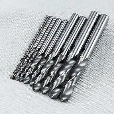 KLOT 10pcs HRC50 Solid Carbide Drill Bit 0.55mm-6.05mm Stub Twist Straight Shank