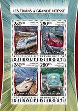 Djibouti 2016 MNH High Speed Trains Shinkansen 4v M/S Railways Stamps