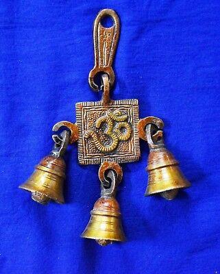Lord Shiva Om Platonic Design Decorative Hanging Door Bells Brass Lucky BM392