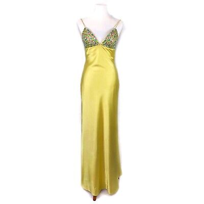 6d8738156551 Sean Collection Prom Dress Gown Yellow Beaded Satin Tie Back Pageant Gown -  XS