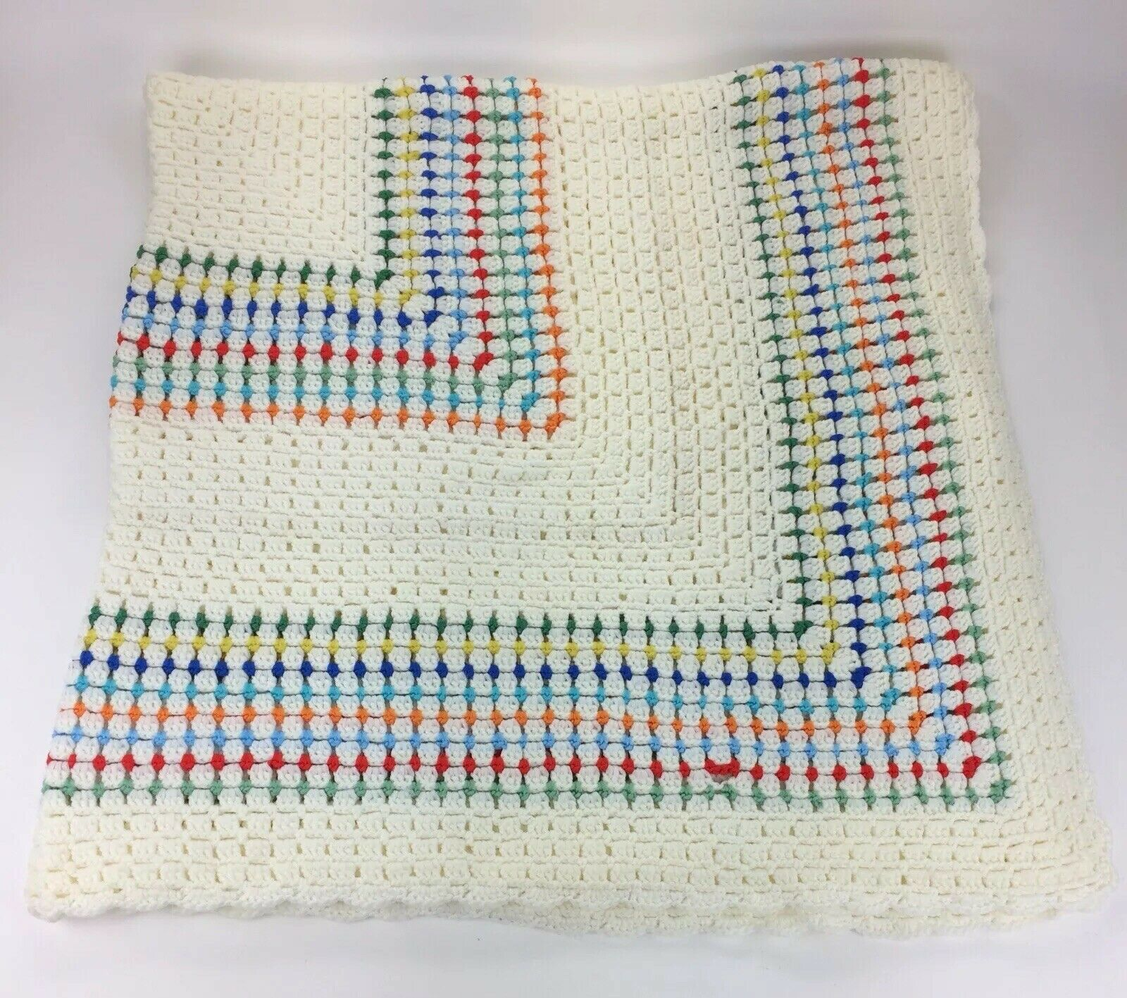 "Vintage Hand Crocheted Rainbow Cream color Afghan Throw Blanket 60.5"" X 60.5"""