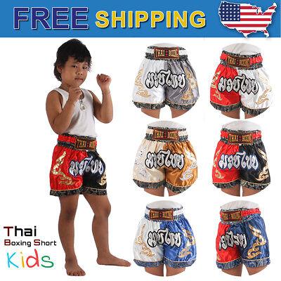 THAI BOXING  KIDS MUAY THAI SHORT PANTS KICK SATIN SIZE:S BLUE /& GOLD FREE SHIP