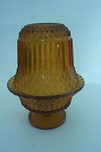 Amber-Fairy-Angel-Lamp-Light-Votive-Candle-Holder-Diamond-Point-Indiana-Glass