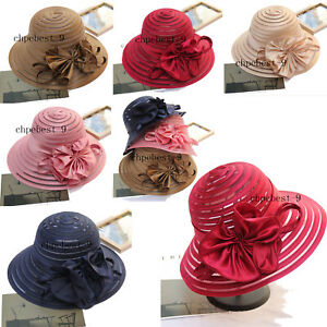 efa7d499db3843 Lady Organza Wide Brim Bowler Hat Kentucky Derby Church Dress Sun ...